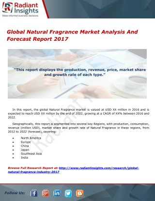 Global Natural Fragrance Market Analysis And Forecast Report 2017