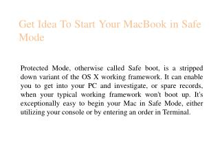 Get Idea To Start Your MacBook in Safe Mode
