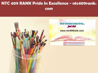 NTC 409 RANK Pride In Excellence /ntc409rank.com