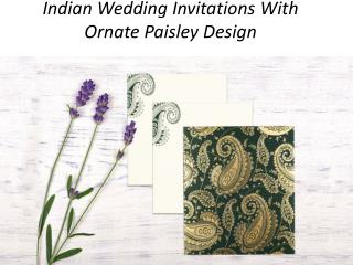 Indian Wedding Invitations With Ornate Paisley Design