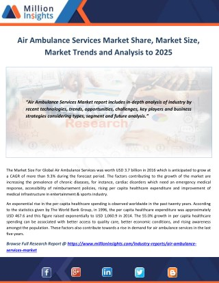 Air Ambulance Services Market Segmentation, Opportunities, Trends & Future Scope to 2025