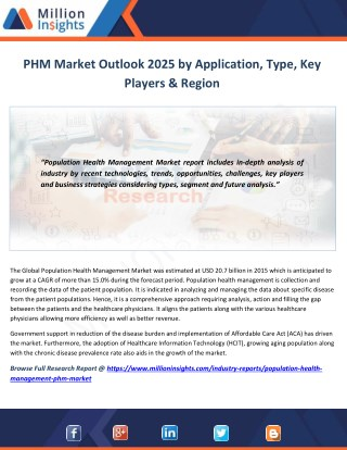 PHM Market Study by Key Manufacturers, Regions, Type and Application to 2025
