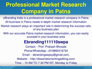 Professional Market Research Company in Patna