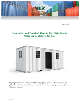 Innovative and Practical Ways to Use High-Quality Shipping Containers for Sale