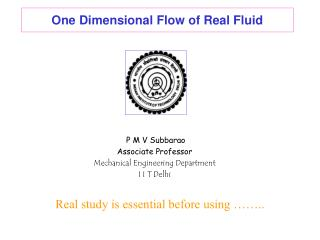One Dimensional Flow of Real Fluid