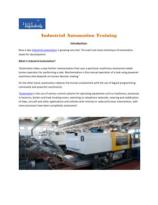 Industrial automation training in Pune | Just Engineering