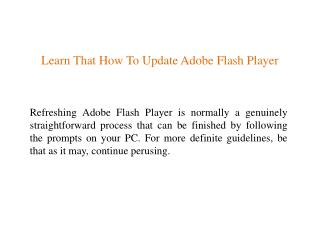 Learn That How To Update Adobe Flash Player