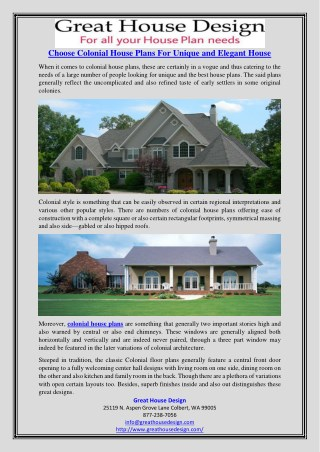 Choose Colonial House Plans For Unique and Elegant House