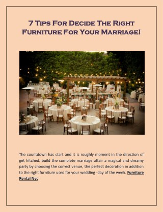 7 Tips For Decide The Right Furniture For Your Marriage!