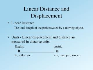 Linear Distance and Displacement