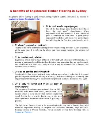 5 benefits of Engineered Timber Flooring in Sydney