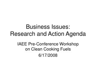 Business Issues: Research and Action Agenda