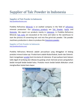Supplier of Talc Powder in Indonesia