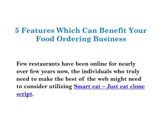 5 Features can benefit your food ordering business