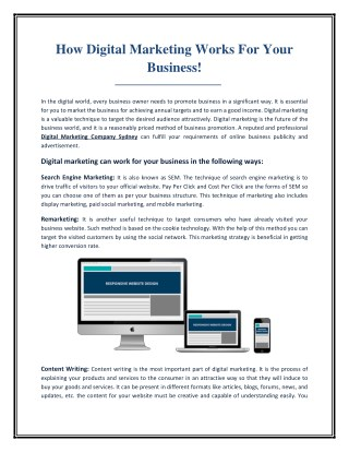 How Digital Marketing Works For Your Business!