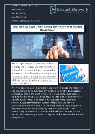 Why Find the Right It Outsourcing Services for Your Business Requirement