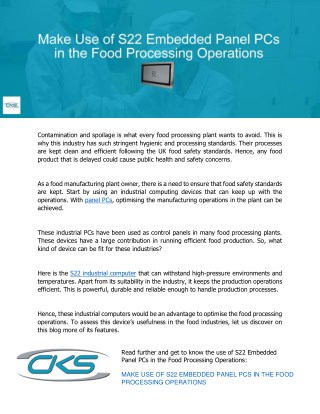 Make Use of S22 Embedded Panel PCs in the Food Processing Operations