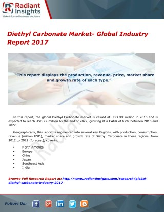 Diethyl Carbonate Market- Global Industry Report 2017