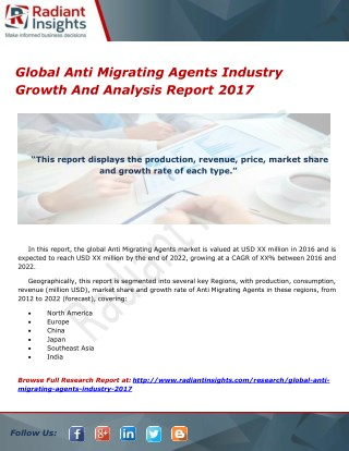 Global Anti Migrating Agents Industry Growth And Analysis Report 2017