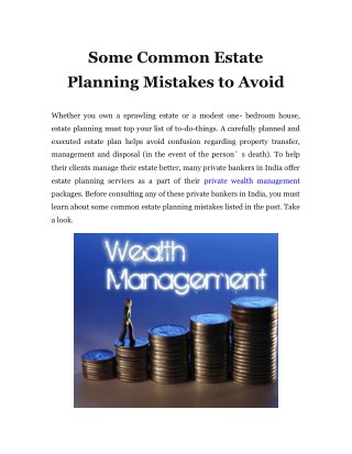 Some Common Estate Planning Mistakes to Avoid