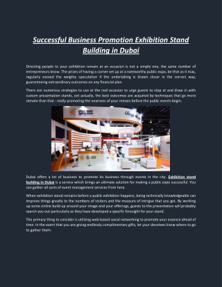 Successful Business Promotion Exhibition Stand Building in Dubai