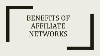 Benefits of affiliate network