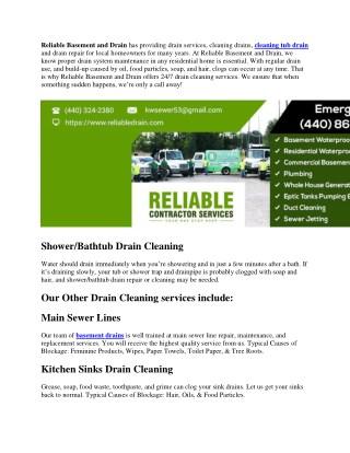 BATHTUB DRAIN CLEANING – DRAIN SERVICES – DRAIN CLEANING – DRAIN REPAIR