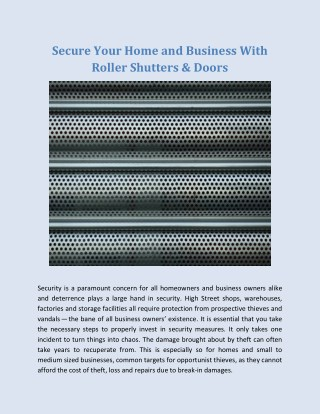 Secure Your Home and Business With Roller Shutters & Doors