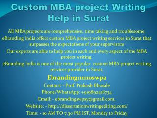 Custom MBA project Writing Help in Surat