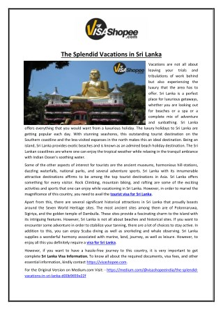 The Splendid Vacations in Sri Lanka