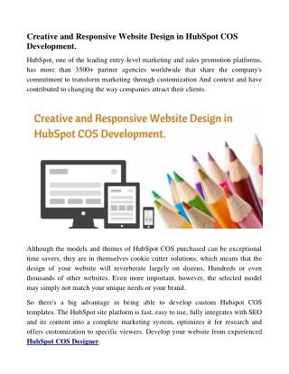 Creative and Responsive Website Design in HubSpot COS Development