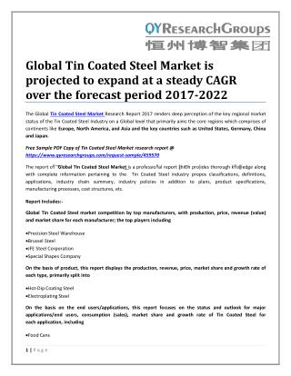 Global Tin Coated Steel Market is projected to expand at a steady CAGR over the forecast period 2017-2022