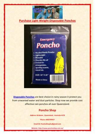 Purchase Light Weight Disposable Ponchos