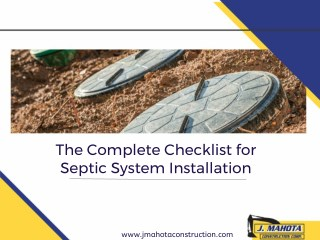 Complete Septic System Installation Checklist