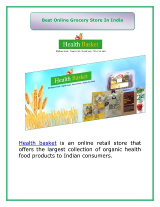 Health Basket Grocery Store in India
