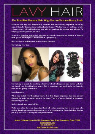 Use Brazilian Human Hair Wigs For An Extraordinary Look
