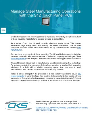 Manage Steel Manufacturing Operations with the S12 Touch Panel PCs