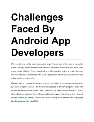 Challenges Faced By Android App Developers
