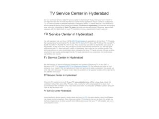 TV Service Center in Hyderabad