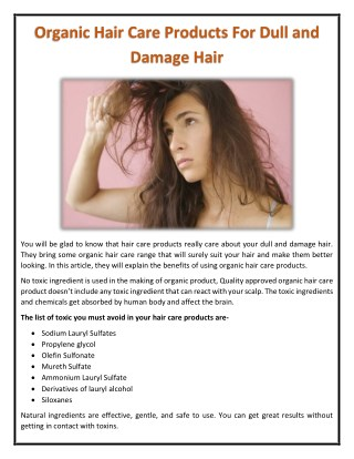 Organic Hair Care Products For Dull and Damage Hair