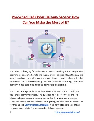 Pre-Scheduled Order Delivery Service: How Can You Make the Most of It?