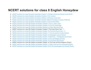 NCERT Solutions for Class 8 English Honeydew