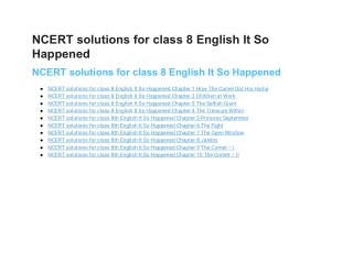 NCERT Solutions for Class 8 English