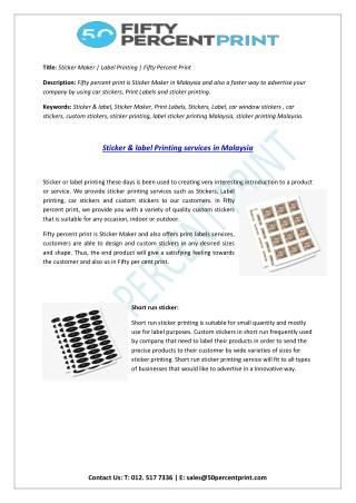 Print Labels   Label Sticker Printing Malaysia   50percent Print