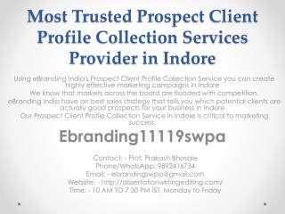Most Trusted Prospect Client Profile Collection Services Provider in Indore