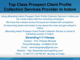 Top Class Prospect Client Profile Collection Services Provider in Indore