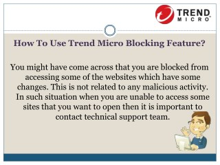How to use trend micro blocking feature?