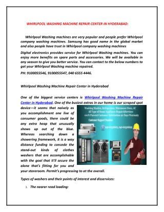 Whirlpool Washing Machine Repair Center in Hyderabad