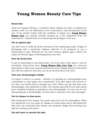Young Women Beauty Care