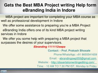 Best MBA Project writing Help form eBranding India in Indore